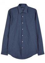 Pal Zileri Dark Blue Textured-jacquard Shirt