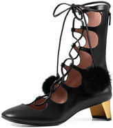 Gucci Mink Pompon Lace-Up Pump, Black (Nero)