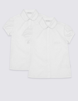 Marks and Spencer Junior 2 Pack Girls' Embroidered Blouses