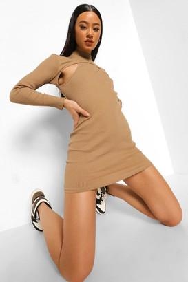 boohoo Ribbed Cut Out High Neck Mini Dress