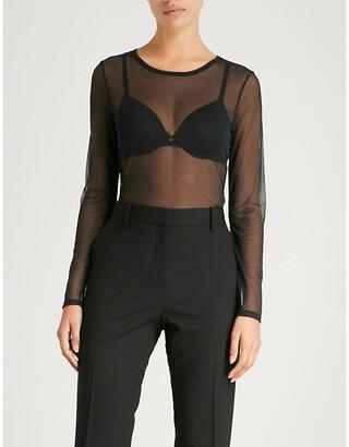 Hanro Ladies Black Smooth Illusion Long-Sleeved Mesh Top
