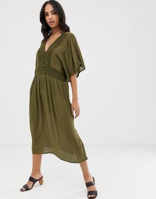 Vila crochet trim kaftan dress-Green