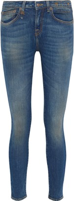 R 13 Alison Distressed Low-rise Skinny Jeans