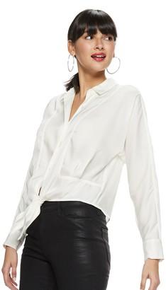 Nine West Women's Tie Front Button Down Shirt