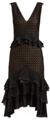 Jonathan Simkhai Peplum Lace Midi Dress - Womens - Black
