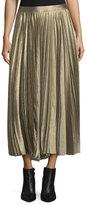 Derek Lam Metallic Accordion-Pleated Midi Skirt, Gold
