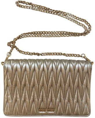 Miu Miu MatelassA Gold Leather Handbags
