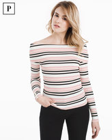 White House Black Market Petite Off-the-Shoulder Striped Pullover Sweater