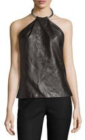 Thierry Mugler Leather Ring Halter Tank, Black