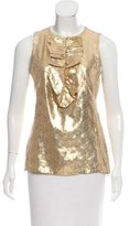 Tory Burch Sleeveless Silk Metallic Top