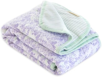 Burt's Bees Watercolor Floral Lost in Lilac Jersey Knit Organic Reversible Baby Blanket