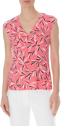 Anne Klein Fan Print V-Neck Sleeveless Top