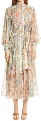 Zimmermann Lucky Bound Long Bishop Sleeve Silk Dress