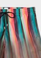 Paul Smith Men's Mixed-Stripe Print Swim Shorts
