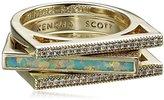 Kendra Scott Lucia Gold Aqua Kyocera Opal Stackable Ring, Size 8