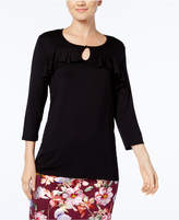 NY Collection Ruffled Keyhole Top