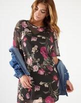 Lipsy Floral Print Mesh Dress