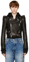 Unravel Black Leather Chopped Biker Jacket