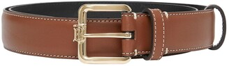 Burberry Monogram-motif topstitched leather belt