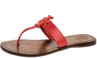 Tory Burch Red Leather Moore Flat Thong Sandals Size 38