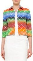 Akris Punto 3/4-Sleeve Cropped Baseball Net-Print Jacket, Multicolor