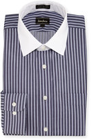 Neiman Marcus Classic-Fit Non-Iron Striped Dress Shirt, Navy