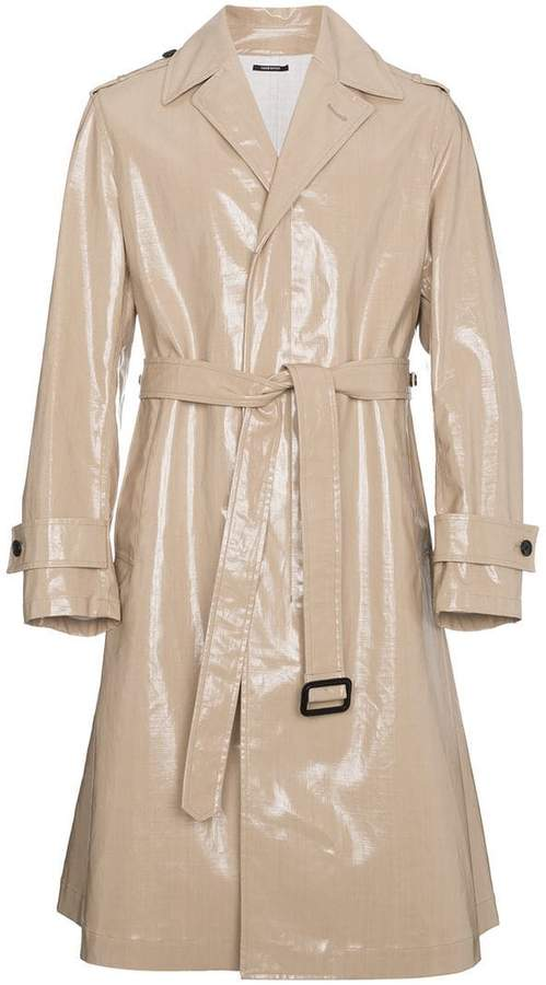 Calvin Klein Beige High Shine Trench Coat