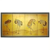 Oriental Furniture Classic Asian Japanese Chinese Art, 36 by 72-Inch Cranes Gold Leaf Wall Screen Painting
