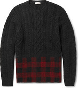Valentino - Check-panelled Cable-knit Wool And Alpaca-blend Sweater