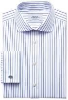 Slim Fit Cutaway Collar Non Iron Stripe White And Navy Shirt