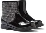 Lelli Kelly Kids Black Patent Studded Sparkle Zip Ankle Boots