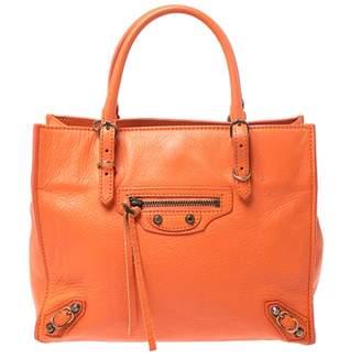 Balenciaga Papier Orange Leather Handbags