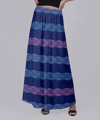 Beyond This Plane Women's Maxi Skirts BLU - Blue & Pink Braided Stripe Maxi Skirt - Women & Plus