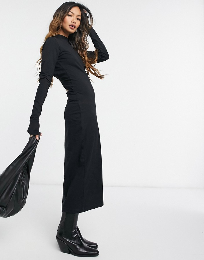 Thumbnail for your product : Weekday Begonia cut out back midi dress in black
