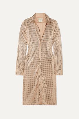 Bottega Veneta Sequin-embellished Satin-jersey Midi Dress - Beige