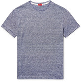 Isaia Space-dyed Knitted Linen And Cotton-blend T-shirt - Navy