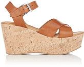 Barneys New York WOMEN'S ANKLE-STRAP PLATFORM WEDGE SANDALS-BROWN SIZE 7