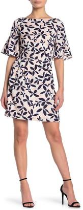 Eliza J Floral Bell Sleeve Shift Dress