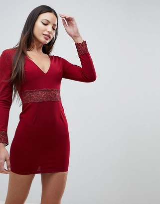 AX Paris Long Sleeve V Neck Dress With Lace Detail-Red