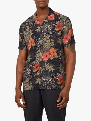 Warehouse Cuban Collar Hawaiian Print Short Sleeve Shirt, Black Pattern