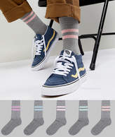 Asos DESIGN Sports Socks In Gray With Washed Out Stripes 5 Pack
