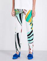 Emilio Pucci Geometric-print straight mid-rise crepe trousers