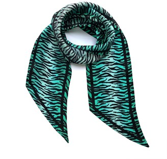 Ingmarson Tiger Silk Neck Scarf Biscay Green