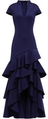 Badgley Mischka Asymmetric Tiered Scuba Gown