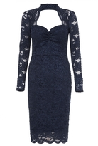 Quiz Navy Glitter Lace Choker Midi Dress