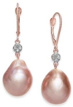 Macy's Cultured Pink Baroque Freshwater Pearl (12mm) & Diamond (1/20 ct. t.w.) Drop Earrings in 14k Rose Gold