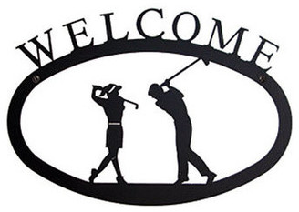 """Village Wrought Iron, Inc Two Golfers Welcome Sign, 17.5"""""""
