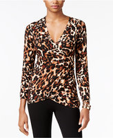 Thalia Sodi Printed Faux-Wrap Sweater, Only at Macy's