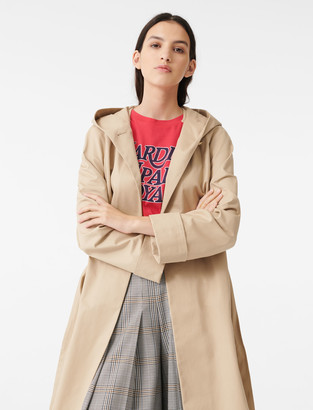 Maje Hooded trench coat with belt