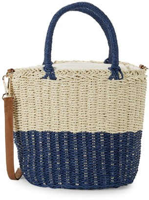 Saks Fifth Avenue Paper String Straw Colorblock Bucket Bag